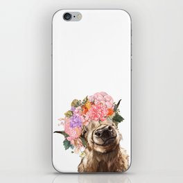 Highland Cow with Flower Crown iPhone Skin