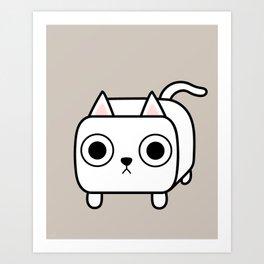 Cat Loaf - White Kitty Art Print
