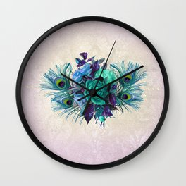 Peacock Feather Flowers Wall Clock