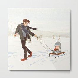 Winter Fun|Skate Metal Print