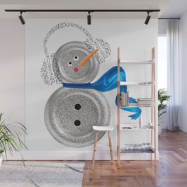 Button Snowman Holiday Song Wall Mural