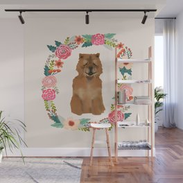 chowchow dog floral wreath dog gifts pet portraits Wall Mural