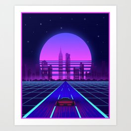 Synthwave Aesthetic Vaporwave Retro 80s 90s car Art Print
