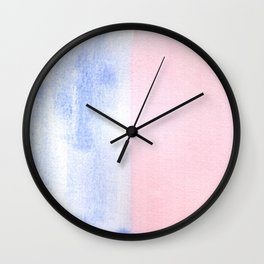 Blue and Red watercolor block Wall Clock
