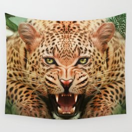 Mid Century Leopard in Tropical Forest Wall Tapestry