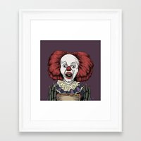 pennywise Framed Art Prints featuring Pennywise is hungry by Andres Eladio