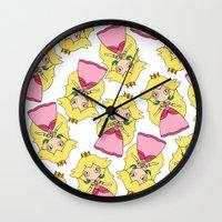 princess peach Wall Clocks featuring peach by guizmo04