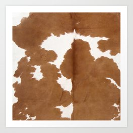 Tan and white cowhide texture Art Print