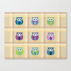 Plaid Owls Canvas Print