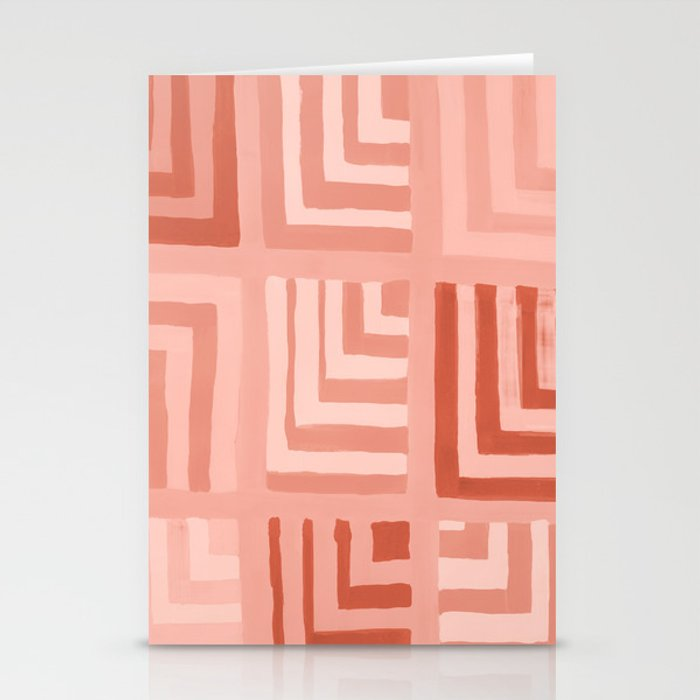 Painted Color Block Squares in Peach Stationery Cards