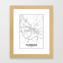 Minimal City Maps - Map Of Florence, Italy. Framed Art Print