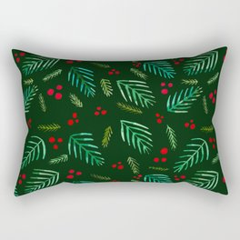 Christmas tree branches and berries - green Rectangular Pillow