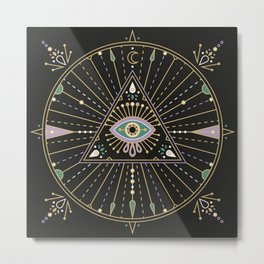 Evil Eye Mandala – Black Metal Print
