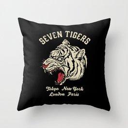 Seven Tigers Throw Pillow