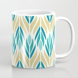 Mid Century Modern Abstract Floral Pattern in Turquoise Teal Aqua and Marigold Coffee Mug