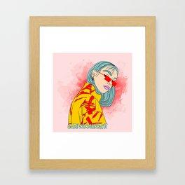 CUZ IM KOOL LIKE DAT - Cool Asian Female with Blue Hair Digital Drawing Framed Art Print