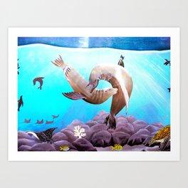 Sea Lions In Love Painting Art Print