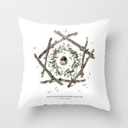 nature mandala... beech sticks, hemlock needles, quail egg Throw Pillow