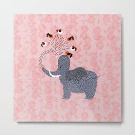 Happy Elephant and cute birds Metal Print
