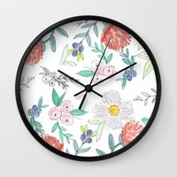 jenna kutcher Wall Clocks featuring Floral Watercolor Pattern  by Jenna Kutcher