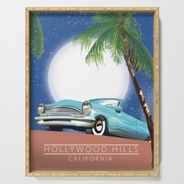 Hollywood Hills California travel poster, Serving Tray