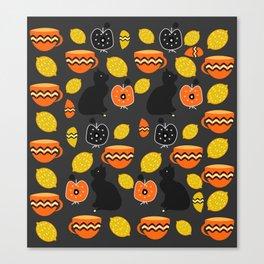 Cats, lemons and teacups Canvas Print