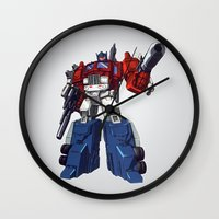 optimus prime Wall Clocks featuring Optimus by CromMorc