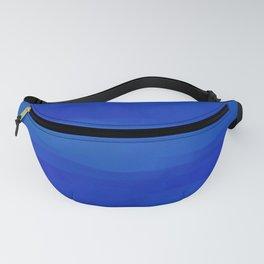 Subtle Cobalt Blue Waves Pattern Ombre Gradient Fanny Pack