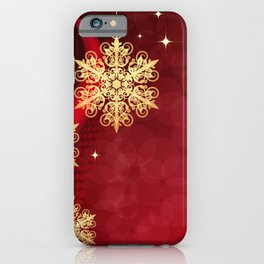 Pretty Christmas Ornaments Red Gold Holiday Decor iPhone Case