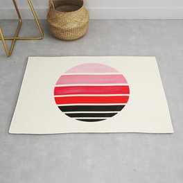 Red Mid Century Modern Minimalist Circle Round Photo Staggered Sunset Geometric Stripe Design Rug