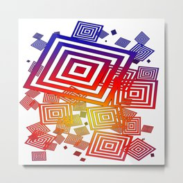 vector squares white Metal Print