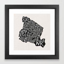 Essex County Map Framed Art Print