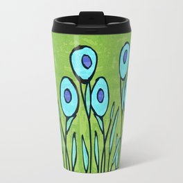 Hippie Flower Garden turquoise and avocado Travel Mug