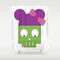 minnie Shower Curtains featuring MINNIE SKULL by Riot Clothing