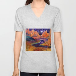'African Violet Skies' mountains and Serengeti prairie landscape painting by Clark Thomas Carlton Unisex V-Neck