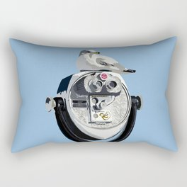 Seagull on Binoculars by the Ocean Illustrated Print Rectangular Pillow