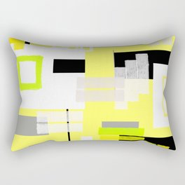 yellow white black silver grey green orange geometric modern art Rectangular Pillow