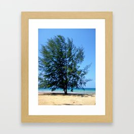 Tree On Seaside Framed Art Print