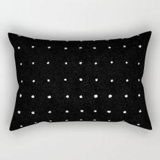 Dot Grid White on Black Rectangular Pillow