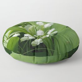 Pure White Lily of the Valley Flower Macro Photograph Floor Pillow