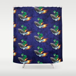 UFO Alien Hot Rod Cartoon Illustration Shower Curtain