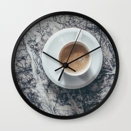 Coffee on Marble Background Wall Clock