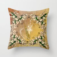 saxophone Throw Pillows featuring Saxophone with flowers by nicky2342