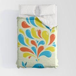 Colorful Swirls Happy Cartoon Whale Comforters