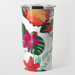 Vibrant Colored Protea, Lily and Tropical Leaves Pattern Travel Mug