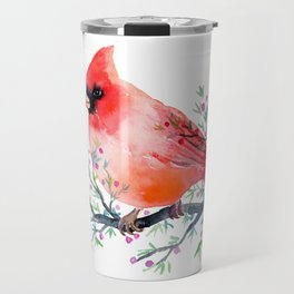 Watercolor red cardinal on berry branch Travel Mug