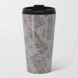 Grey green blue muted leaf pattern Travel Mug