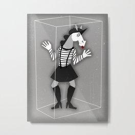 Mime Girl Unicorn Metal Print