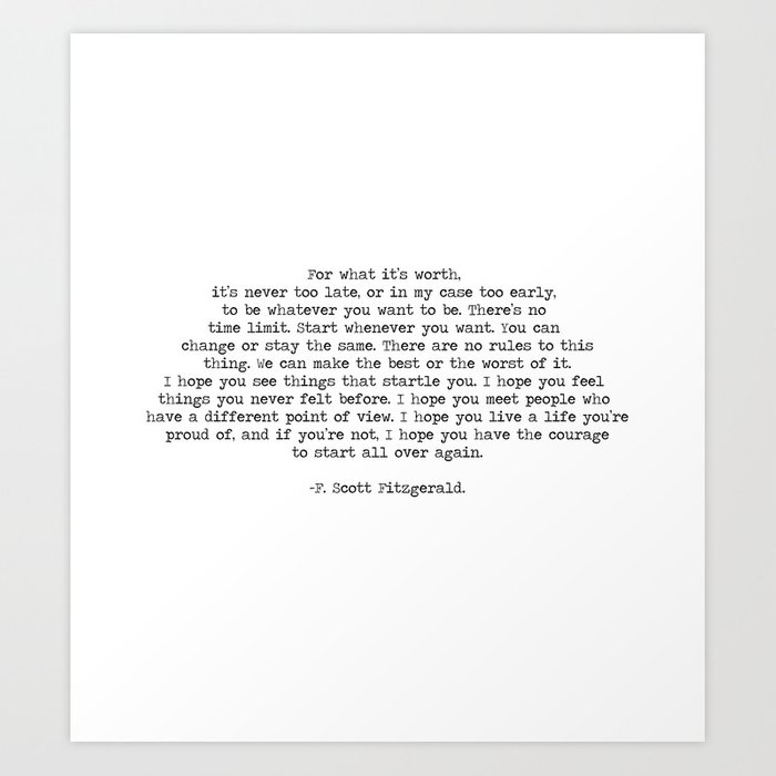 It\'s Never Too Late- F. Scott Fitzgerald Quote Art Print by summersoulco