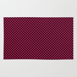 Cerise and Black Polka Dots Rug